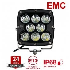 LED apvalus sertifikuotas žibintas 80W 8000LM 12-24V (E13 00 HR PL) FLOOD