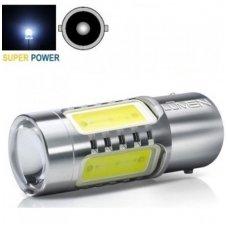 LED BA15S, P21W 12-24V 7,5w 3+1 smd LED - itin aukštos galios led gabaritų, stabdžių, atbulinės eigos, dienos žibintų lemputė su priekyje lešiu