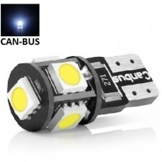 LED CAN BUS lemputė T10 / W5W - 5 LED balta