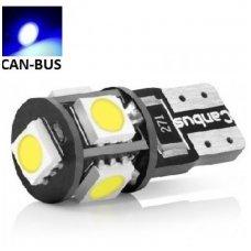 Led CAN BUS lemputė T10 / W5W - 5 LED mėlyna