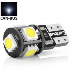 Led CAN BUS lemputė T10 / W5W - 5 LED šilta balta 3800K