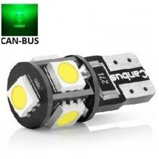 Led CAN BUS lemputė T10 / W5W - 5 LED žalia