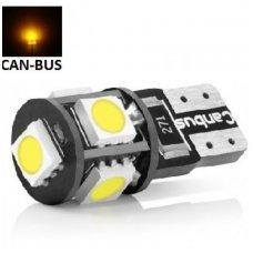Led CAN BUS lemputė T10 / WY5W - 5 LED geltona