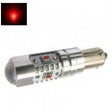 Led lemputė BA9s H21W - 5W, 5 CREE LED su lęšiu raudona