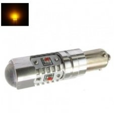 Led lemputė BAY9s HY21W, H21W - 5W, 5 CREE LED su lęšiu geltona