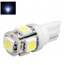 LED lemputė T10 / W5W / 12V - 5 LED balta