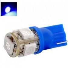 Led lemputė T10 / W5W / 12V - 5 LED mėlyna