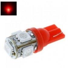 Led lemputė T10 / W5W / 12V - 5 LED raudona