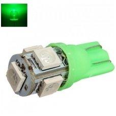 Led lemputė T10 / W5W / 12V - 5 LED žalia