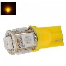 Led lemputė T10 / WY5W / 12V - 5 LED geltona