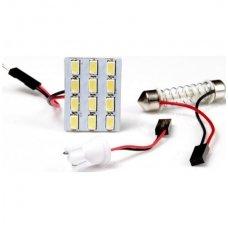 Led lemputė universali F10/c5w, T10/ w5w 12V - 12 LED 28mmx22mm