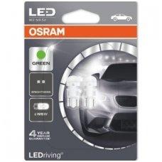 Led lemputės W5W/T10 OSRAM GREEN LED 12V 1W, 2880GR-02B, 4052899385634