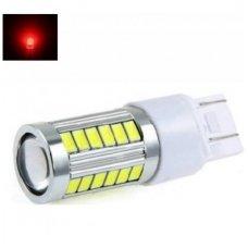 LED W21-5W / T20 / 7443 - 5w 30+3 smd led keturių kontaktų automobilinė lemputė raudona