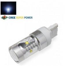 LED W21W / T20 / 7440 - 9w, 6 CREE LED smd balta dviejų kontaktų lemputė