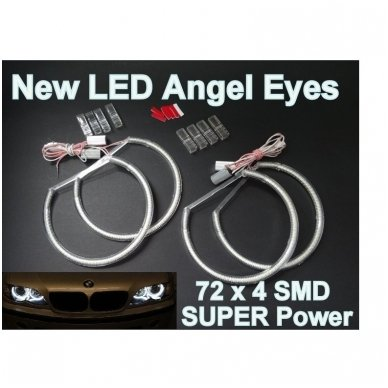 LED 72 SMD Angel Eyes balti šviesos žiedai BMW E46 coupe su lešiu FACELIFT 2003+ 3