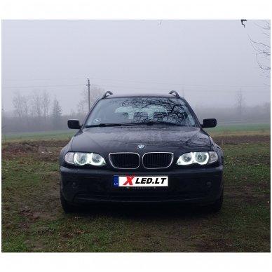 LED 72 SMD Angel Eyes balti šviesos žiedai BMW E46 be lešio / E46 4/5 durys facelift su lešiu 3