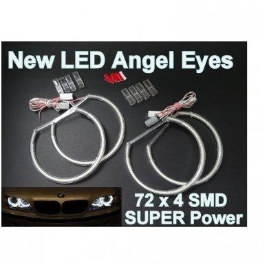 LED 72 SMD Demon Eyes raudoni šviesos žiedai BMW E46 coupe su lešiu FACELIFT 2003+ 3