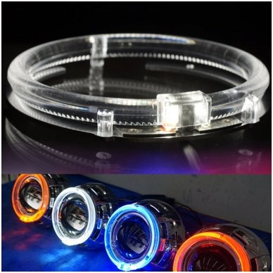 LED Angel Eyes DRL 80 mm žibintų žiedai 4
