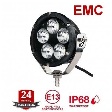 LED apvalus sertifikuotas žibintas 25W 2500LM 12-24V (E13 00 HR PL) FLOOD 50*