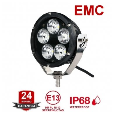 LED apvalus sertifikuotas žibintas 25W 2500LM 12-24V (E13 00 HR PL) FLOOD