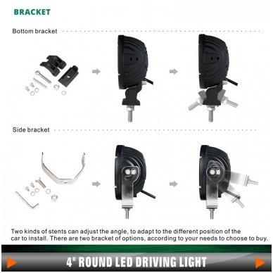 LED apvalus sertifikuotas žibintas 25W 2500LM 12-24V (E13 00 HR PL) FLOOD 50* 11