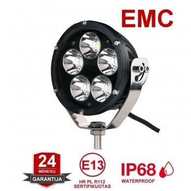 LED apvalus sertifikuotas žibintas 25W 2500LM 12-24V (E13 00 HR PL) SPOT