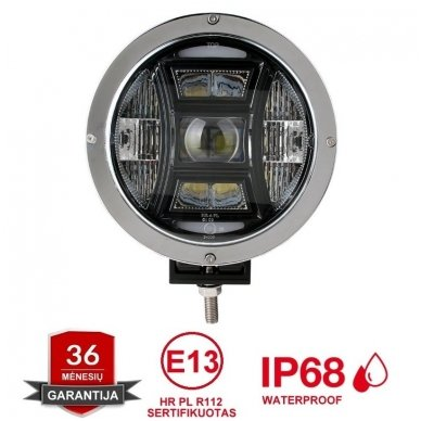 "LED apvalus sertifikuotas žibintas 70W 6500LM 12-24V (E13 HR A PL) COMBO 9"""