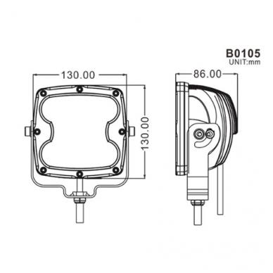 LED apvalus sertifikuotas žibintas 80W 8000LM 12-24V (E13 00 HR PL) FLOOD 9