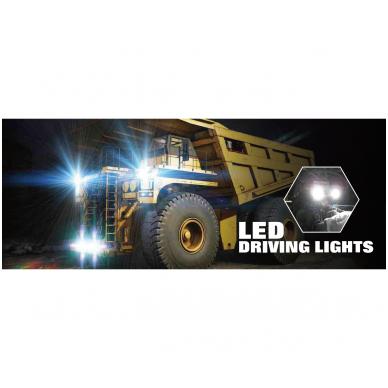 LED apvalus sertifikuotas žibintas 80W 8000LM 12-24V (E13 00 HR PL) FLOOD 50* 14