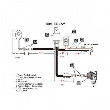 Led BAR juostų, darbo žibintų įjungimo relė vienam žibintui 12v iki 500W 8