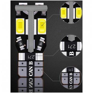 LED CAN BUS lemputė T10 / W5W - 10 LED balta 6