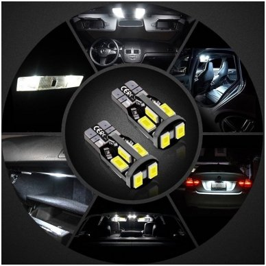 LED CAN BUS lemputė T10 / W5W - 10 LED balta 7