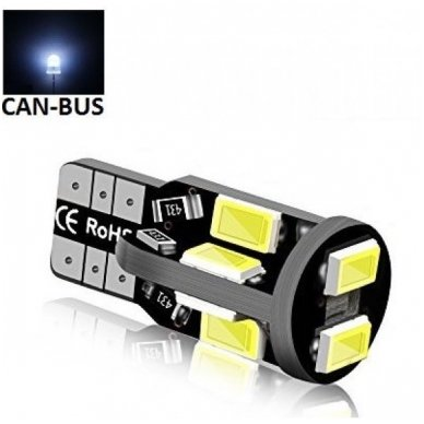 LED CAN BUS lemputė T10 / W5W - 10 LED balta
