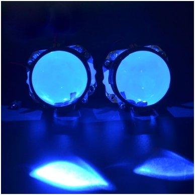 LED Devil Eyes mėlynos tuning linzių lemputės 2