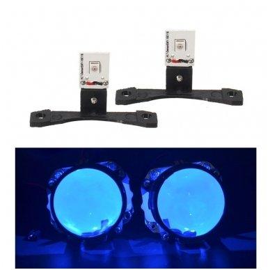 LED Devil Eyes mėlynos tuning linzių lemputės