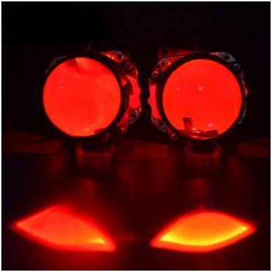 LED Devil Eyes raudonos tuning linzių lemputės 3
