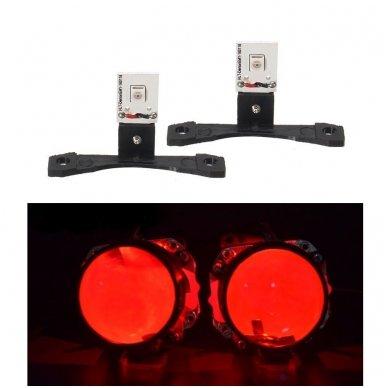 LED Devil Eyes raudonos tuning linzių lemputės