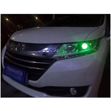 LED Devil Eyes žalios tuning linzių lemputės 2