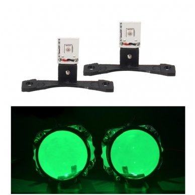 LED Devil Eyes žalios tuning linzių lemputės