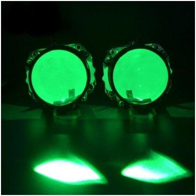 LED Devil Eyes žalios tuning linzių lemputės 4