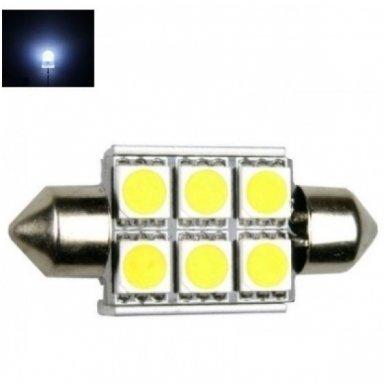 Led F10 / c5w 36mm lemputė - 6 LED