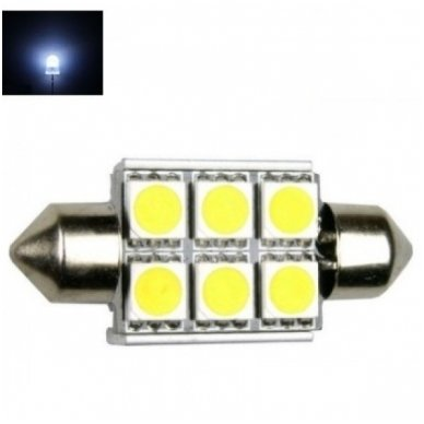 Led F10 / c5w 36mm lemputė - 6 LED
