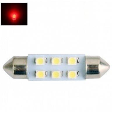 Led F10 / c5w 36mm - RAUDONA 6 led 12V 3528 SMD lemputė automobilio numerio, salono apšvietimui