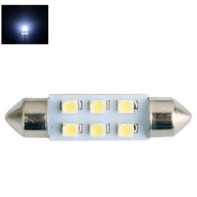Led F10 / c5w 42mm - 6 led 12v 3528 SMD lemputė automobilio numerio, salono apšvietimui
