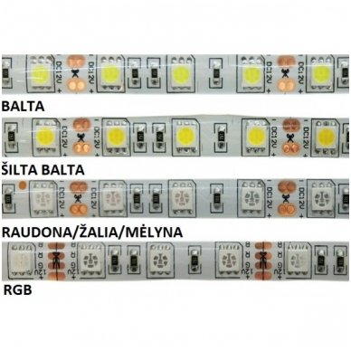 LED juosta raudona 12V 14.4W/m LED5050 SMD hermetiška 3