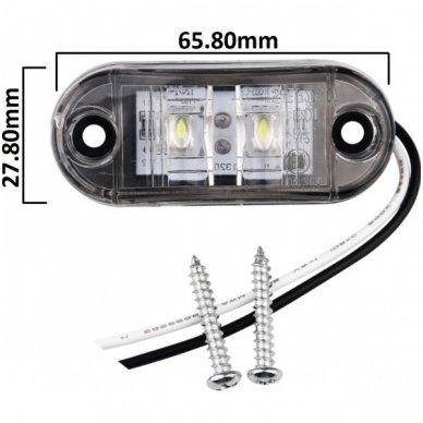LED šoninis gabaritinis žibintas 12-24V automobiliui, sunkvežimiui, priekabai baltas 00SM1 E11 0212 DOT SAEP2P307 3