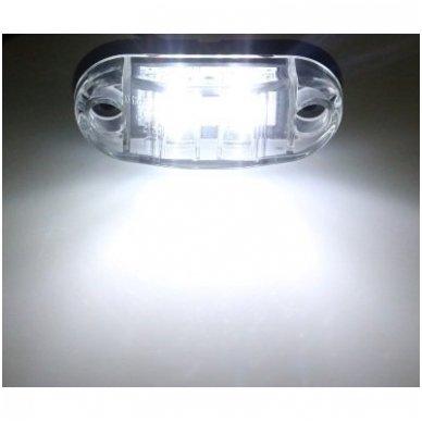 LED šoninis gabaritinis žibintas 12-24V automobiliui, sunkvežimiui, priekabai baltas 00SM1 E11 0212 DOT SAEP2P307 2