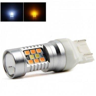 LED W21/5W / T20 / 7443/ 7444 - 6w 42 smd LED keturių kontaktų amerikietiškų automobilių posūkio gabarito/DRL lemputė