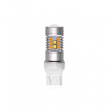 LED W21/5W / T20 / 7443/ 7444 - 6w 42 smd LED keturių kontaktų amerikietiškų automobilių posūkio gabarito/DRL lemputė 3