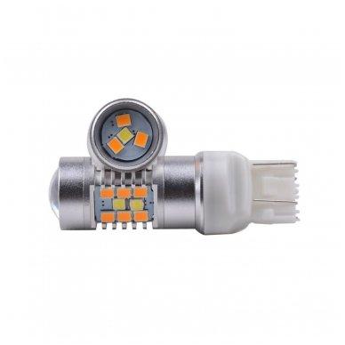 LED W21/5W / T20 / 7443/ 7444 - 6w 42 smd LED keturių kontaktų amerikietiškų automobilių posūkio gabarito/DRL lemputė 4